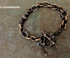 "シルバーと真鍮のコンビ【Rococo Mantel Brass Chain Bracelet ""Triple Point""】"