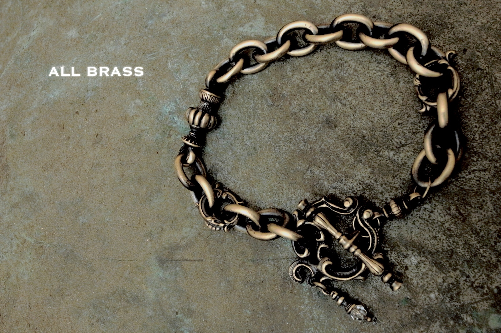 "オールブラス製【Rococo Mantel Brass Chain Bracelet ""Triple Point""】"