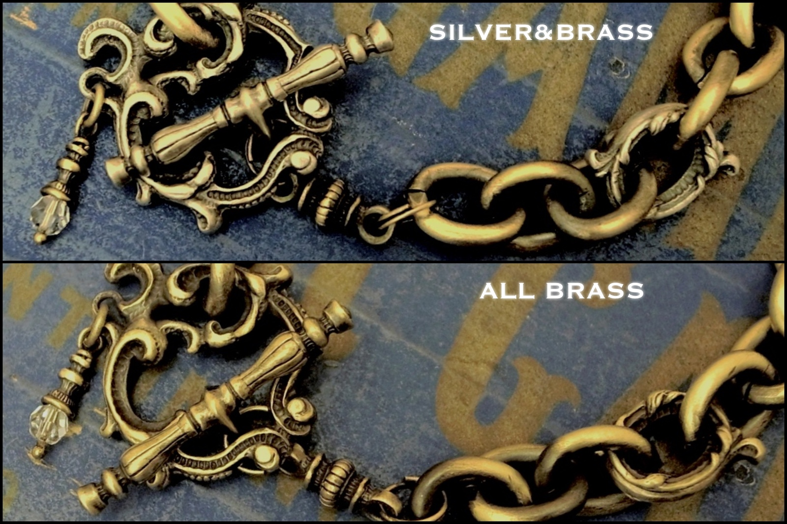 "シルバーとブラスの雰囲気の違い【Rococo Mantel Brass Chain Bracelet ""Triple Point""】"