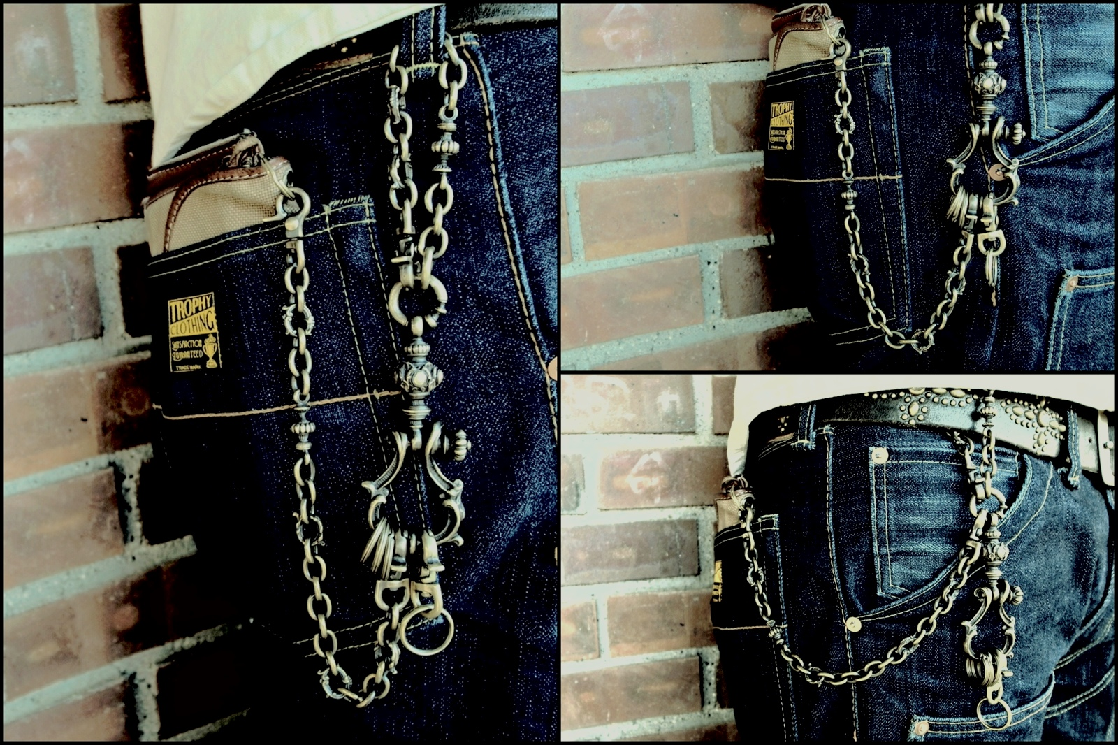 "Antique Shackle Keychainとの連結【Brass Short Walletchain ""Point""】"