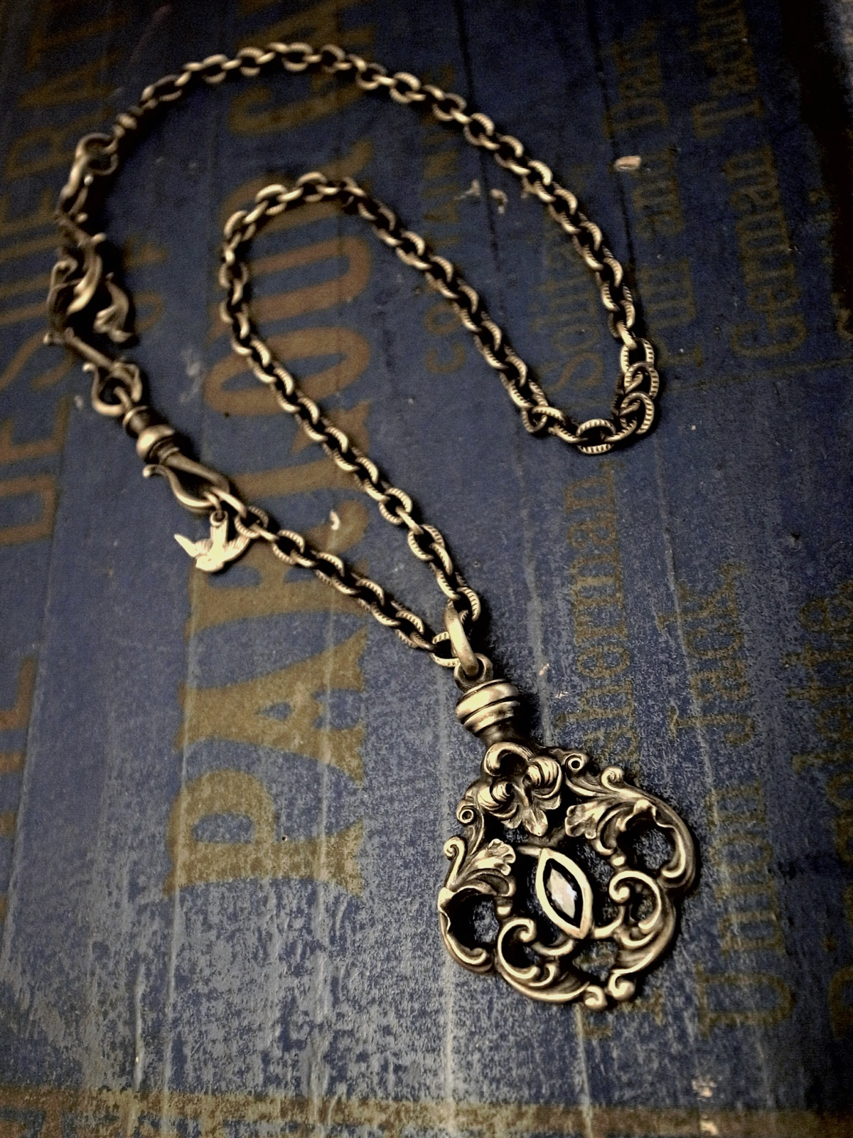 jd Orleans Necklace BRASS&BlackCZ